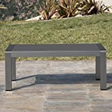 Cheap Crested Bay Patio Furniture | Outdoor Grey Aluminum Coffee Table with Tempered Glass Table Top