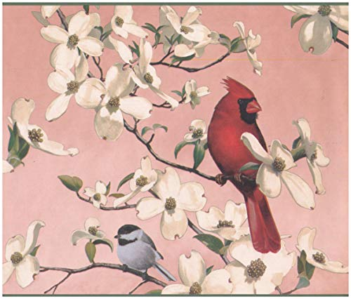 Wall Border - Colorful Birds White Flowers Blush Red Nature Wallpaper Border Retro Design, Prepasted Roll 15 ft. x 10 in. ()