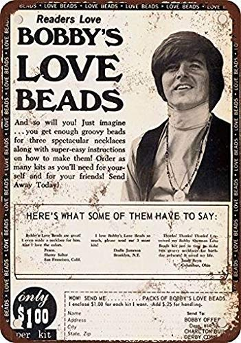 Dozili Metal Tin Sign 1972 Bobby Sherman Love Beads Funny Signs Bar Pub Decor Retro Decor 10