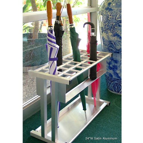 "Glaro Combination Standard & Tote Size Umbrella Rack: Satin Aluminum - 12 Umbrellas - 12""W"