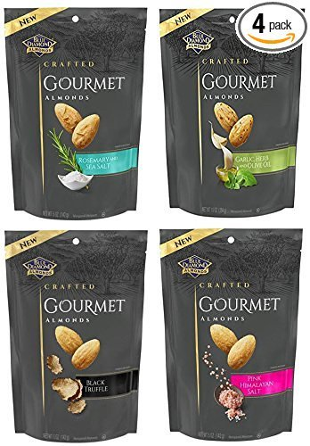 Blue Diamond Gourmet Almond Nut Variety Pack - Bundle of 4 Flavors 5 oz Bags, 5 oz