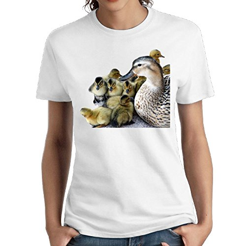 Zzwfi Women's Wild Mother Duck and Ducklings Funny Walk White Shirts M Short (Anaheim Mighty Ducks Rock)