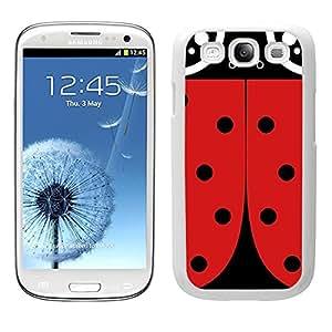 Funda carcasa para Samsung Galaxy S3 diseño mariquita bichito rojo y negro borde blanco