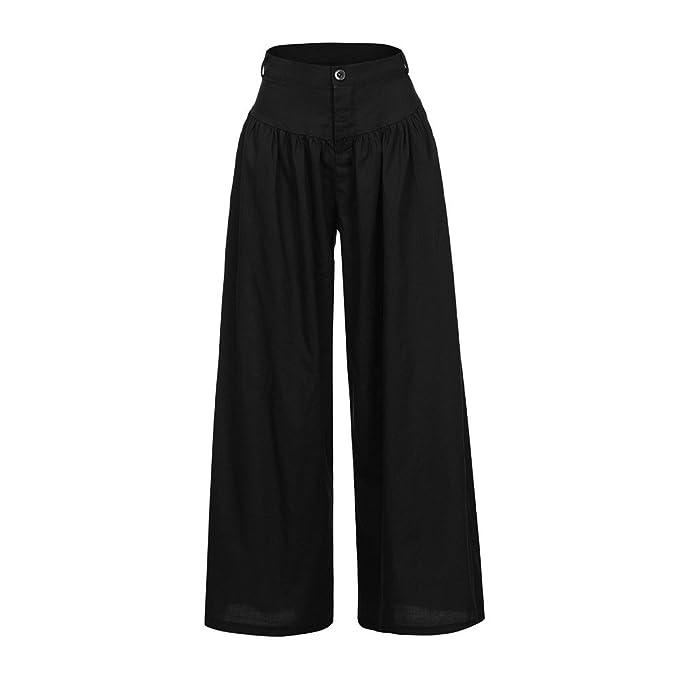 2fd798866ff0 Amazon.com  UOFOCO Plus Size Wide Legs Pants Women Casual High Waist  Trousers Soft Pantalon Long Pants  Clothing