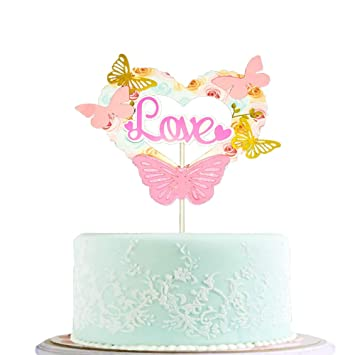 BLINGBLING Happy Birthday Cake Topper Pink With Gold Butterfly