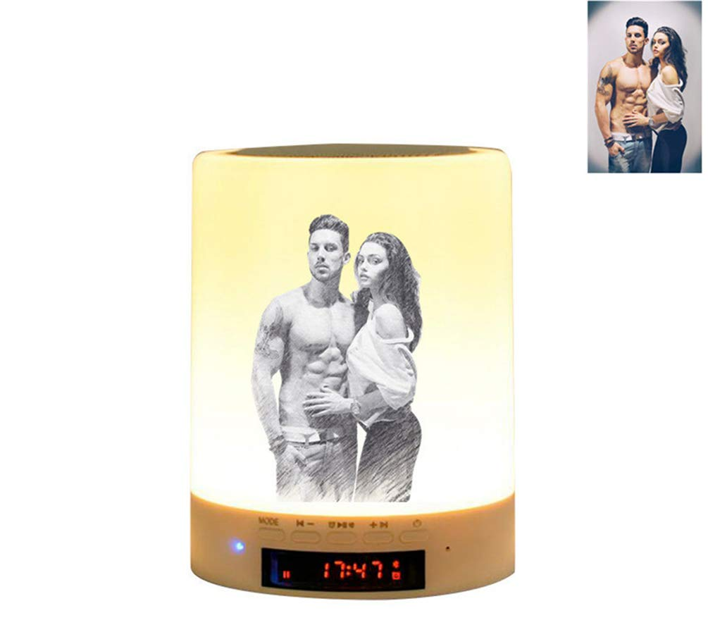 Personalized Engraving Picture Night Light Custom Bluetooth Music Christmas Gift(Sketch Printing 3.5inch3.5inch4.7inch)