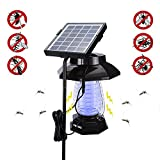 TESCCI Solar Powered Bug Zapper- Electric Mosquitoes Killer- Work as Zapper and Garden Light - Enhanced Outdoor or Indoor Flying Insect Killer for Garden, Room, Camping,Hang or Stake in Ground