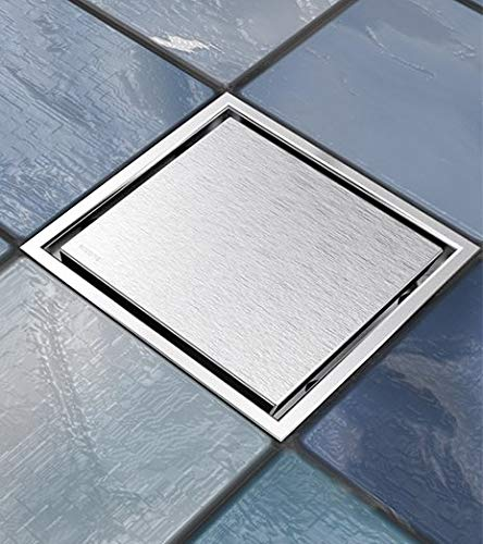 Ushower Square Drain for Shower 6 Inch, Invisile Square Floor Drain Tile Insert, Bathroom Drain Square Brushed Nickel with Hair Strainer for Bathroom Kitchen Basement