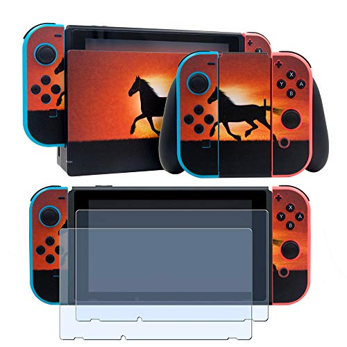 Vinyl Skin Faceplate Sticker for Nintendo Switch Full Set Cover Decal with 2 Pcs Screen Protector(Console & Joy-con & Dock & Grip)-Running Horse