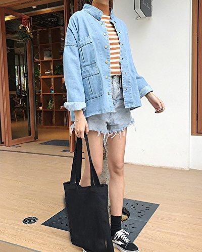 Botones Azul Suelto Vaquera De Jacket Casual Chaquetas Mezclilla Lavado Con Claro Color Mujer Corto Chaqueta 6T1Pxn1O