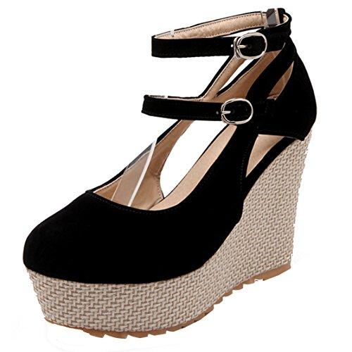 AIYOUMEI Damen Knöchelriemchen Plateau Keilabsatz Pumps mit Schnalle Elegant Schuhe Schwarz