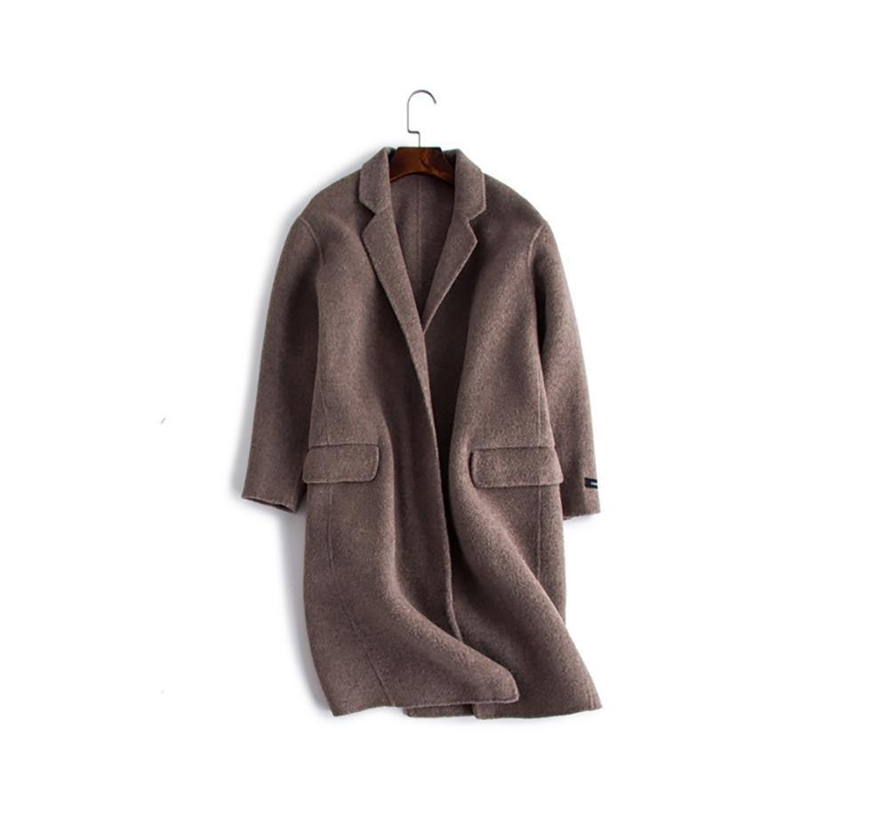 Abrigo de cachemira de doble cara de invierno para mujer Abrigo de sobrefalda de longitud media Coll...