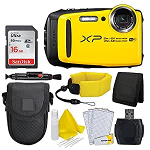 Fujifilm FinePix XP120 Digital Camera (Yellow) + Floating Wrist Strap + Point & Shoot Camera Case + 16GB Memory Card + USB Card Reader + Screen Protectors + Cleaning Pen – Ultimate Accessory Bundle