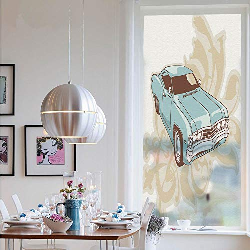 """Window Decal Vinyl Glass Cling,Classical Sport Car with Abstract Design in The Background Retro Style Vehicle Decorative(19.7"""" W x 47"""" L) Suitable for Home Kitchen Living Room Bedroom.Blue Baby Pink from RWNFA"""