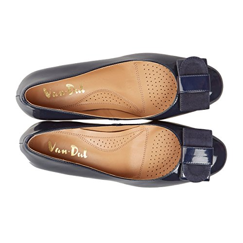 Van Dal Camden Womens Patent Wedge Heel Court Shoes Navy nVJ2S43