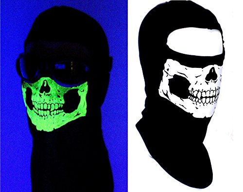 [Childs American Made Glow in the Dark Skull Ski Face Mask Hood Ghost Balaclava] (Ninja Zombie Costumes)