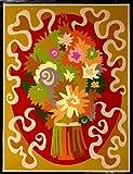 """BOUQUET""Spanish""Encanto""Tapestry,15.5'' X 20.5,Original Mid-Century Modern, c.1965,100% Virgin Wool Felt,Mint Condition."