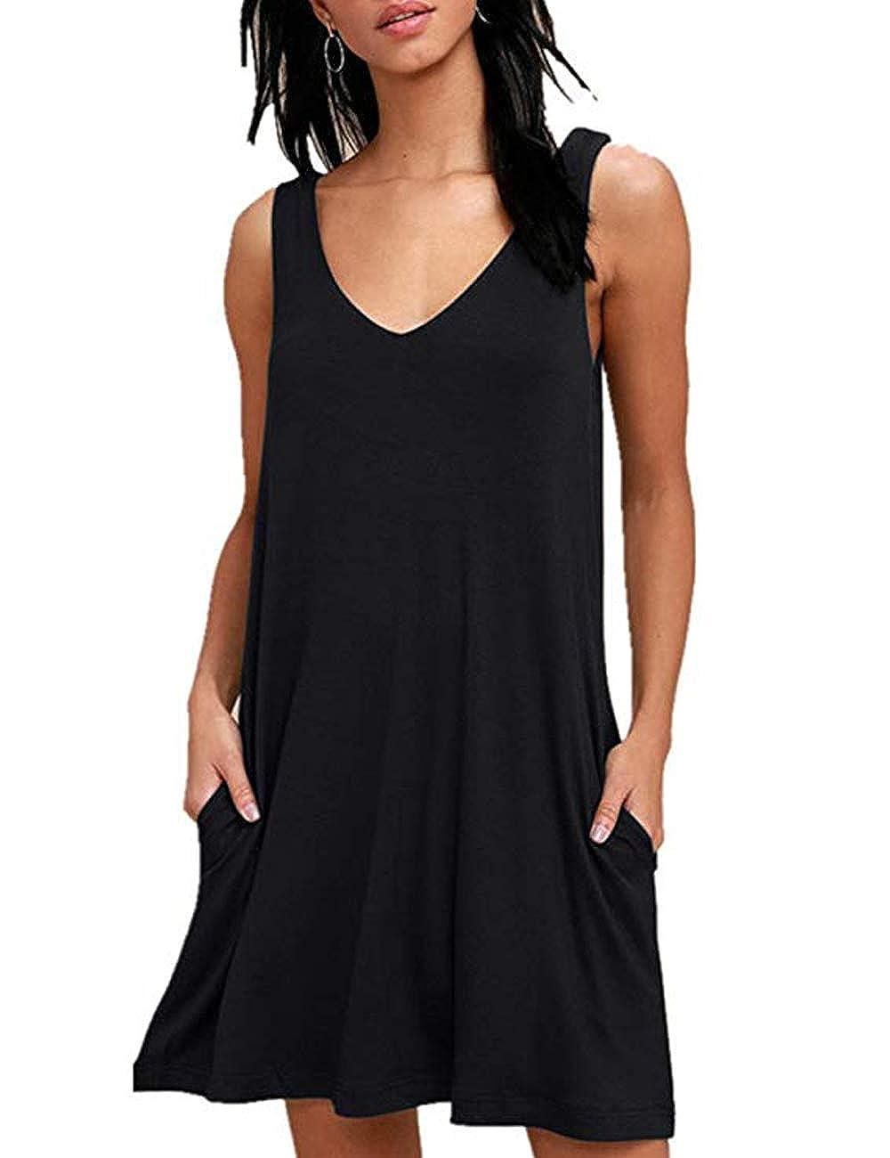 Black QIUYEJUO Women Summer Casual Sleeveless TShirt Mini Dress Beach Bikini Swimsuit Cover up with Pockets