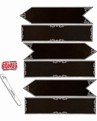 6 Piece Chalkboard Sign Set for Weddings, Events and Parties with Chalk Pen! -