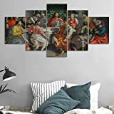 retro 11 breads - Wall Decor 5 Panel Canvas Last Supper Painting Wall Pictures for Living Room Retro Vintage Christian Religion Wooden Modern Framed Posters and Prints Gallery Wrap Artwork Stretched(60''Wx32''H)