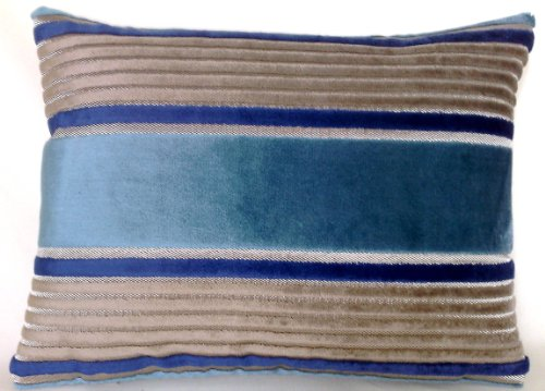 (Blue And Grey Accent Pillow Cover Striped Velvet Cushion Cover Osborne and Little Salon Stripe )
