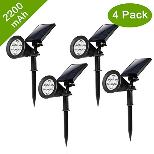 [New Version 2 Modes] HKYH 200 Lumens 2-in-1 Solar Powered LED Landscape Lighting Solar Wall Lights Waterproof Outdoor Landscaping Lights Bulb Spotlight for Tree Flag Driveway Yard Lawn Pathway Garden