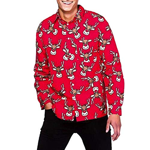 (Caopixx Shirt for Men's Casual Autumn Winter 3D Christmas Print Long Sleeve Slim T-Shirt Top Blouse)