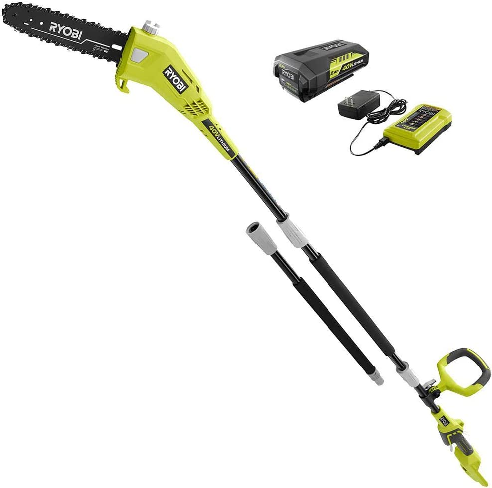 RYOBI RY40560 10 in. 40-Volt Lithium-Ion Cordless Battery Pole Saw 2.0 Ah Battery and Charger Included