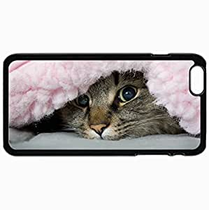 Customized Cellphone Case Back Cover For iPhone 6 Plus, Protective Hardshell Case Personalized Cat Blanket Mischief Black