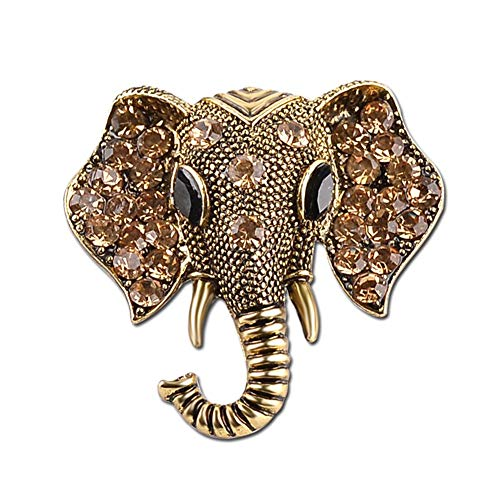 - AILUOR Retro Elephant Brooch Pins, Fashion Crystal Rhinestone Animal Elephant Head Lapel Pin Suit Corsage Accessories Jewelry Unisex (Bronze)