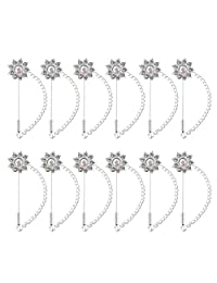 MonkeyJack 12 Pieces Women's Elegant Scarf Clips Hijab Pins Safety Brooches Scarves Buckle