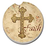 CounterArt Absorbent Stoneware Car Coaster, Faith