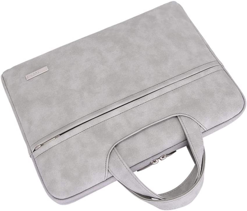 Color : Gray, Size : 13.3 inch AIYAMAYA Waterproof PU Leather Laptop Bag for 13.3 14 15 15.4 15.6 Inch Laptop Sleeve Case