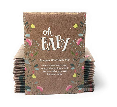Baby Shower Bouquets - Oh Baby - Baby Shower Seed Packet Party Favors - Boy or Girl - Individual Bouquet Wildflower Mix - Ready to Give - Pack of 20