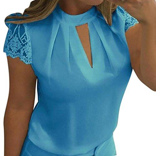 Tank Trim Feather (LISTHA Women Chiffon Short Sleeve T Shirt Splice Casual Lace Crop Tops Blouse)