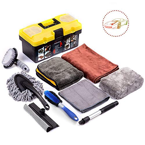 Mofeez 9pcs Car Cleaning Tools Kit With Blow Box Car Tire Brush Wash Mitt Sponge Wax Applicator Microfiber Cloths Window Water Blade Brush Car Wash Detailing Supplies