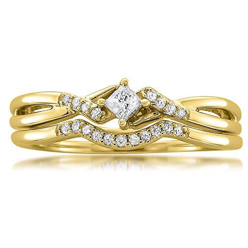 10k Yellow Gold Princess-cut & Round Diamond Engagement Bridal Set Wedding Ring (1/5 cttw, I-J, I1-I2), Size 7