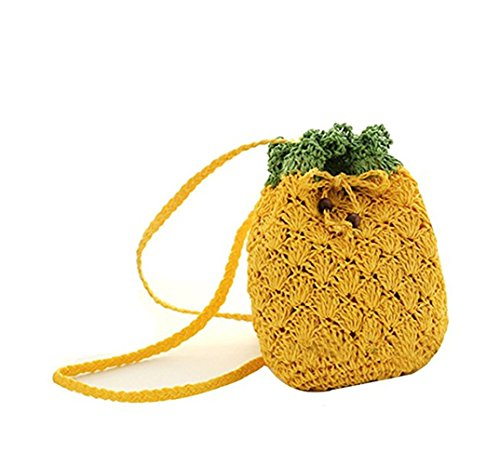 Olivia Cute Fruit Shape Pineapple Handbag Small Weave Summer Beach Bucket Bag Handmade Tote Mini Clutch Beach Travel Cross-body Bag Satchel Shoulder Bag Phone Pouch Money Coin Purse