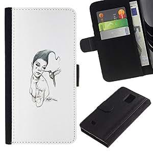 // PHONE CASE GIFT // Moda Estuche Funda de Cuero Billetera Tarjeta de crédito dinero bolsa Cubierta de proteccion Caso Samsung Galaxy Note 4 IV / Pink & Bird /