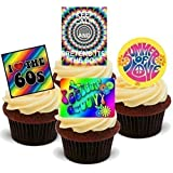 NOVELTY PSYCHODELIC SIXTIES HIPPY Mélange de fête Motif cupcakes comestibles en support de 12 décorations de gâteaux en Papier de riz comestible pour gâteaux - 2 x 12 images A5