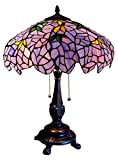 """Chloe Lighting CH16828PW16-TL2 Tiffany-Style 2-Light Wisteria Table Lamp with 16"""" Shade"""
