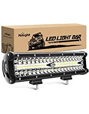 Nilight 18023C-A 12Inch 12 Inch 300W Triple Row Flood Spot Combo 30000LM Bar Driving Boat Led Off Road Lights for Trucks,2 Years Warranty
