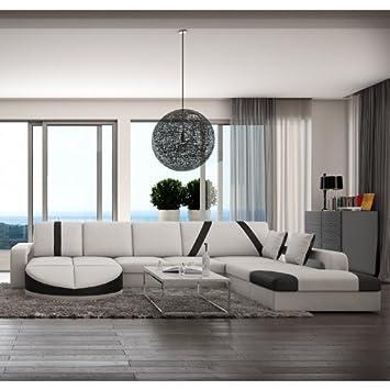 Wohn Landschaft XXL Mit Kunstleder Bezug 335x220 Cm L Form Weiß / Schwarz |
