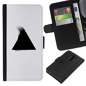LECELL--Cuero de la tarjeta la carpeta del tirón Smartphone Slots Protección Holder For LG G3 -- Geometría del triángulo B & W --