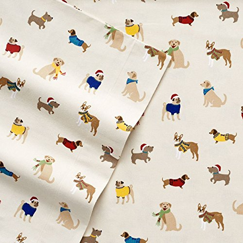 Cuddl Duds Winter Holiday Dog Friends Printed Flannel Sheet Set - Queen Size