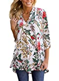 Chase Secret Womens Casual V Neck Loose Cuffed 3 4 Sleeve Floral Printed Blouses Tops