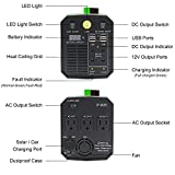300W Portable Generator Power Inverter,200WH / 52800mAh Lithium Battery Backup Power Supply Charged by Solar/Wall Outlet/Cars with 3 110V AC Outlet,4 DC 12V Ports,4 USB Ports (Green)