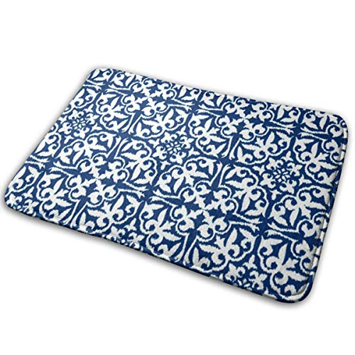 - Jhgsjnsf Ikat Damask Pattern - Cobalt Blue and White Bathroom Mat Door Mat Entrance Mat Floor Mat Rug Indoor/Outdoor/Front Door/Bathroom Mats Rubber Non Slip 15.7x23.6 Inches.