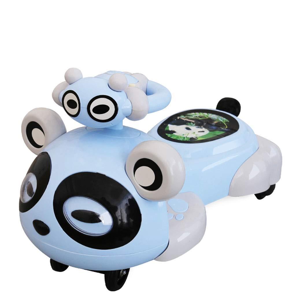 Kinder drehen Auto Umweltfreundliche Cartoon Rand Abgerundete Verdickung Musik Licht Stumm Rad Baby Yo Auto Swing Twist Auto (80,5  40,3  45 cm) (Farbe   Ice sea Blau mute wheel) Ice sea Blau mute wheel