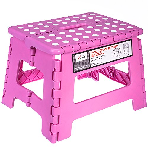 Kids Pink Foot (Acko 9 Inches Pink Folding Step Stool with Anti-Slip Surface for Kids and Adults with Handle, Holds up to 250 LBS (Pink))